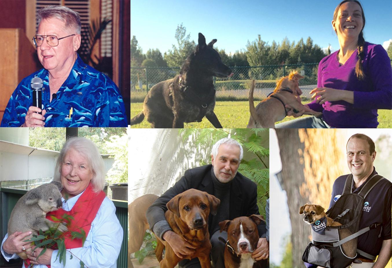 Bob Bailey, Grisha Stewart, Turid Rugaas, Ian Dumbar e Ken Ramirez.