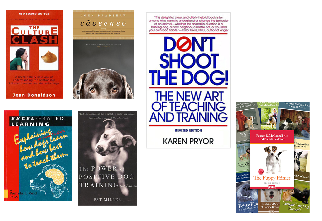 The Culture Clash, Cão Senso, Don`t shoot the dog, Excel-erated learning, The Power of Positive dog training, The puppy primer