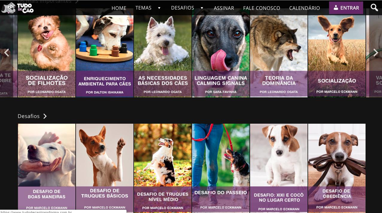 O portal Tudo de Cão Transforma traz estudos e muito material útil para adestradores.